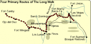 """The Long Walk""  These are the 4 paths the Navajos and Masceseros took to travel to Bosque Redondo."